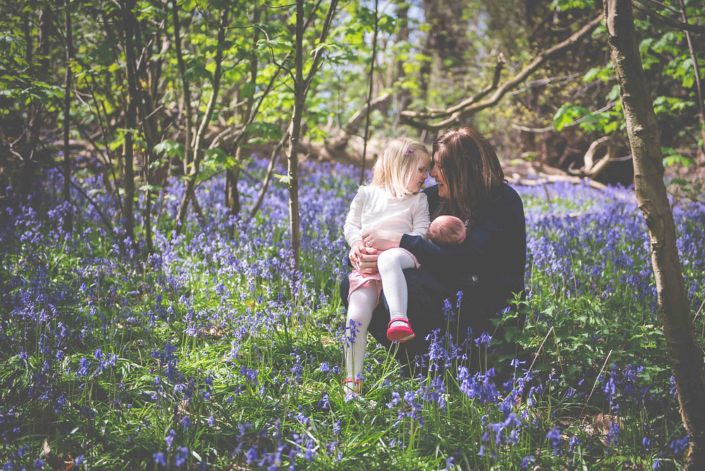 Lifestyle family photoshoot in Bluebell wood near Wolverhampton