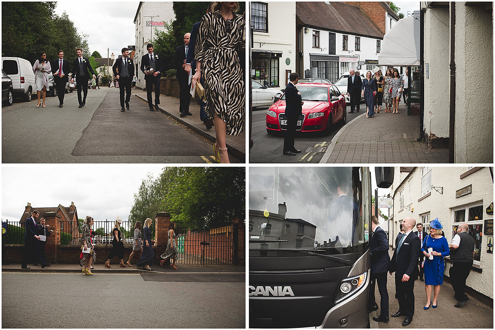 Wedding guests walking through the streets of Brewood