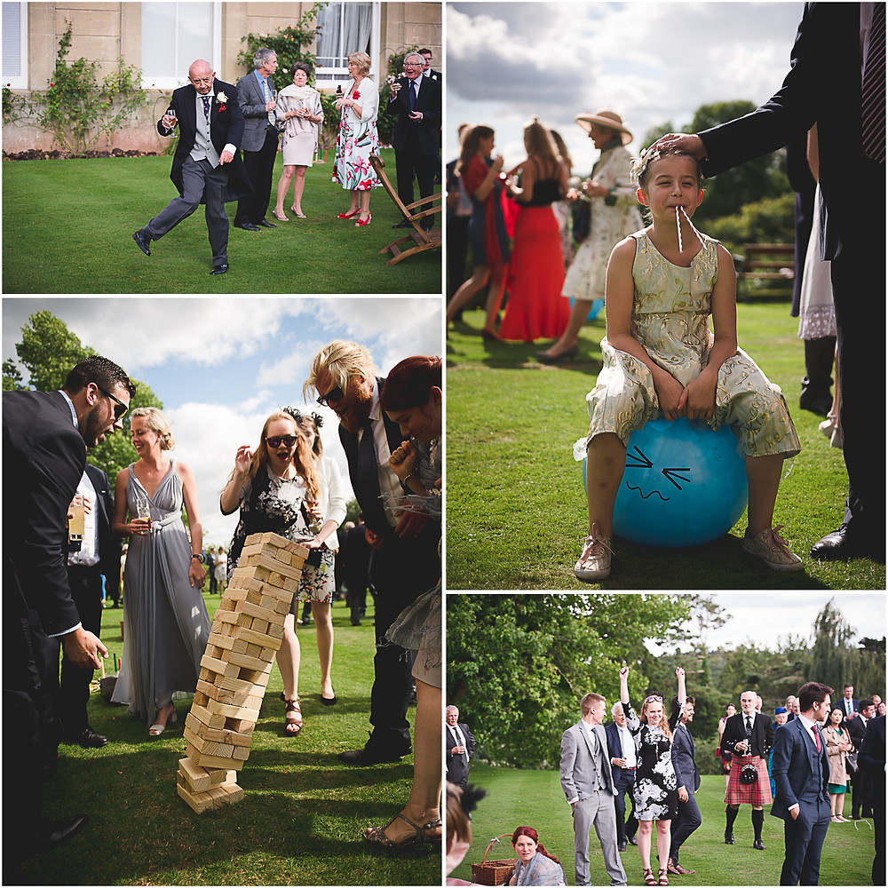 Giant jenga and space hopper on the lawn at Herefordshire wedding reception