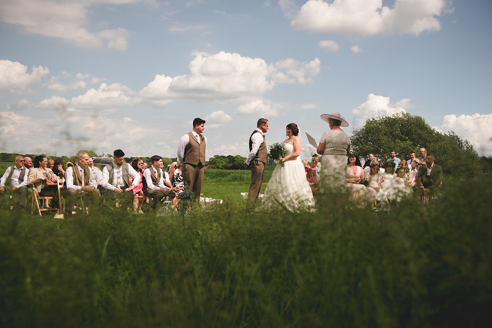 Outdoor wedding blessing in Derbyshire