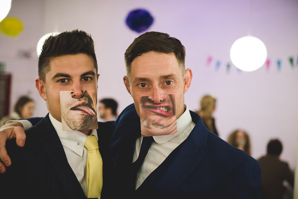 Wedding guests at The Bond in Digbeth wearing funny face masks