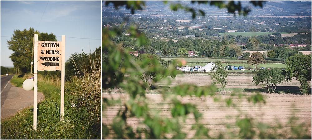 Festival wedding marquee in a field beneath the Malvern Hills