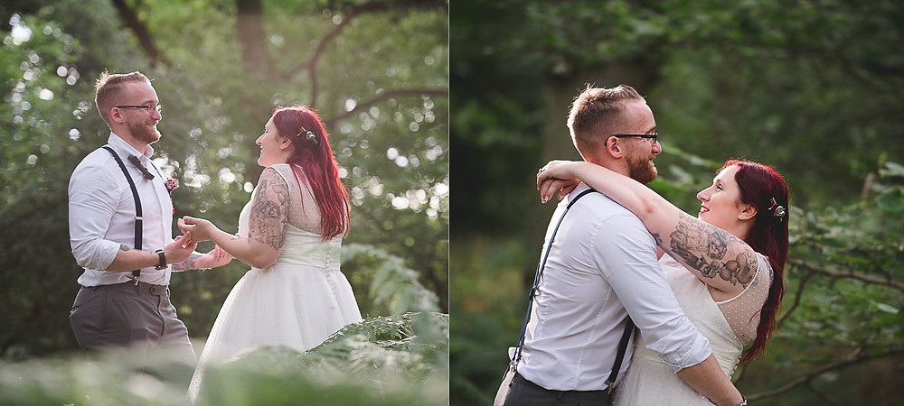 candid photos of bride and groom in the woods