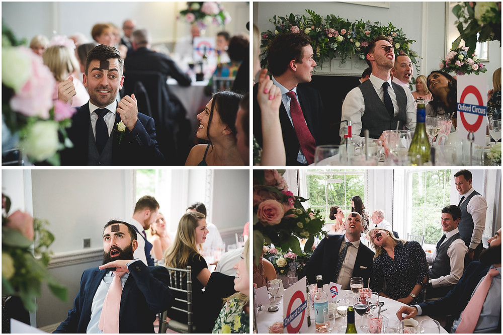 guests having fun playing the after eight game at a wedding