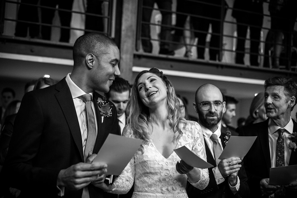 bride & groom singing during their bristol wedding
