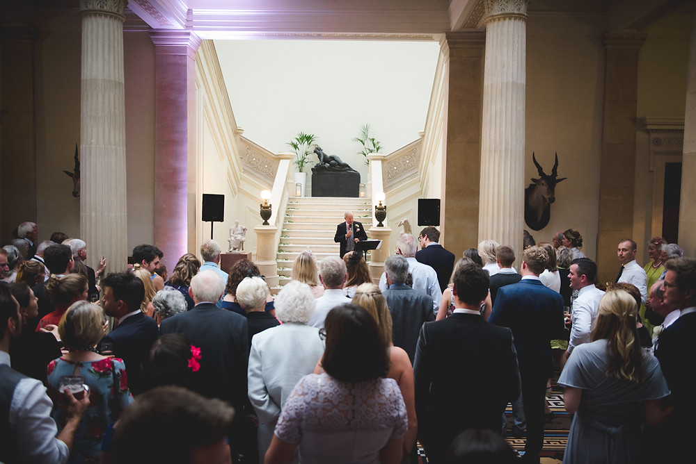 Wedding speeches in great hall at Whitbourne Hall a Herefordshire wedding venue