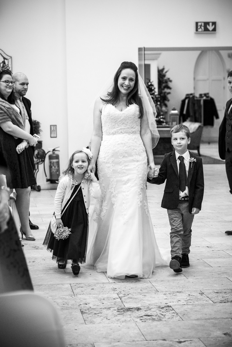 Bride arriving at Fazeley Studios with her two children for their Digbeth Wedding