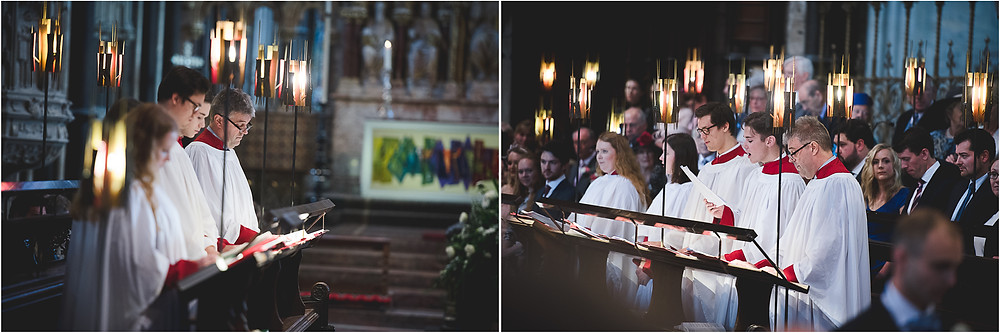 Worcester Cathedral choir during wedding ceremony
