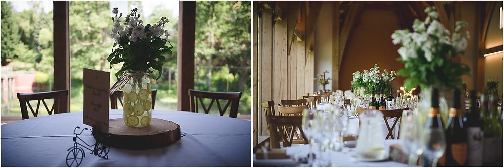 Lemon jar wedding table centrepieces