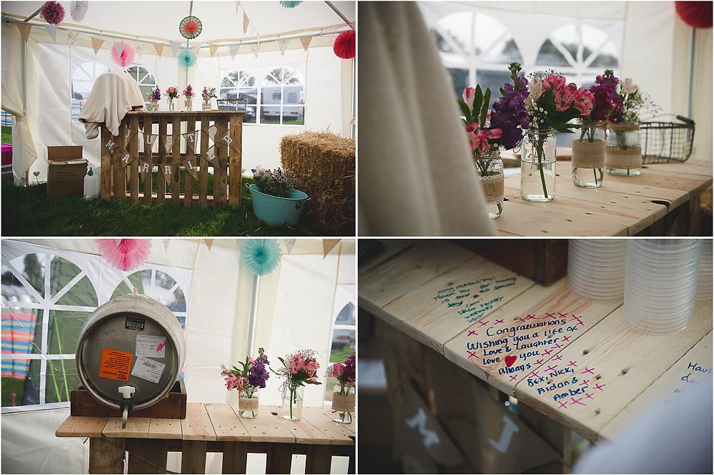 DIY bar at outdoor festival wedding