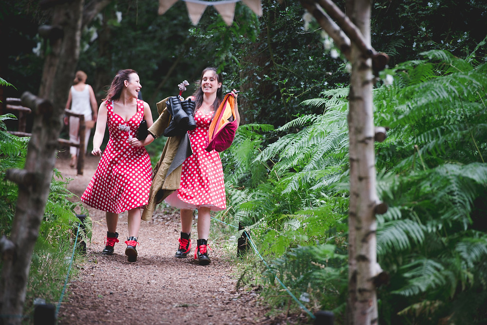 Bridesmaids in red polka dot dresses