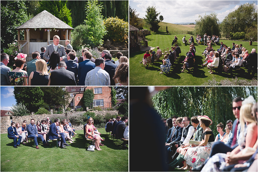 guests waiting for the bride at an outdoor wedding at Worcestershire wedding