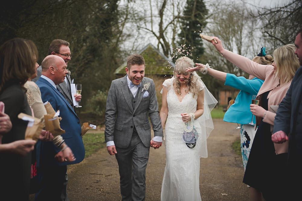 Confetti run at Avoncroft Museum wedding