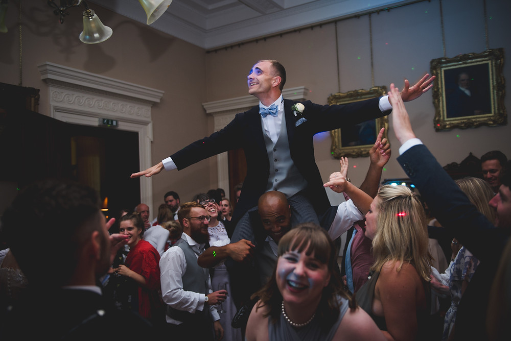 Groom held aloft on dancefloor at Herefordshire wedding