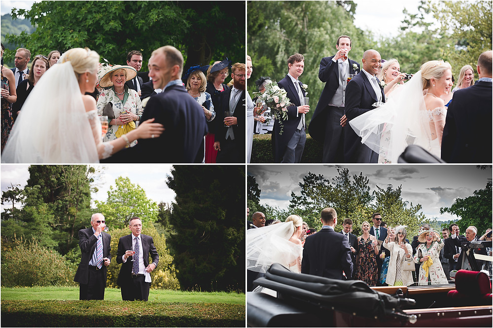 Candid photos of guests during drinks reception at Worcestershire wedding