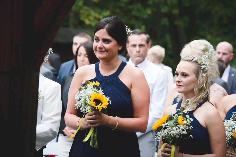 emotional bride at outdoor Staffordshire Wedding
