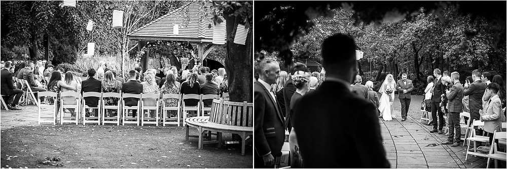 Bride arriving at Moddershall Oaks for her outdoor wedding in October