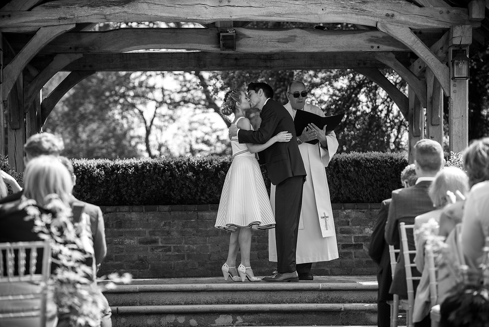 Bride & Groom missing at the end of their open air wedding ceremony at Wethele Manor