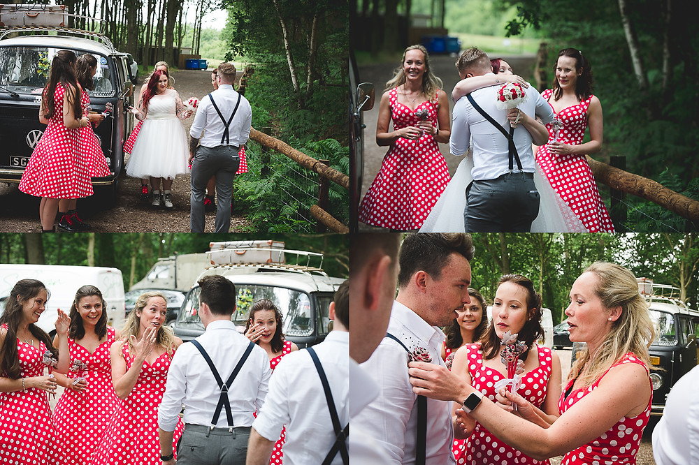 Bride in 50s style dress and boho groom see each other for first time