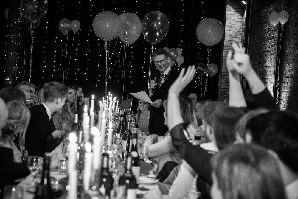 b&w photograph of father of the bride speech at bristol paintworks wedding