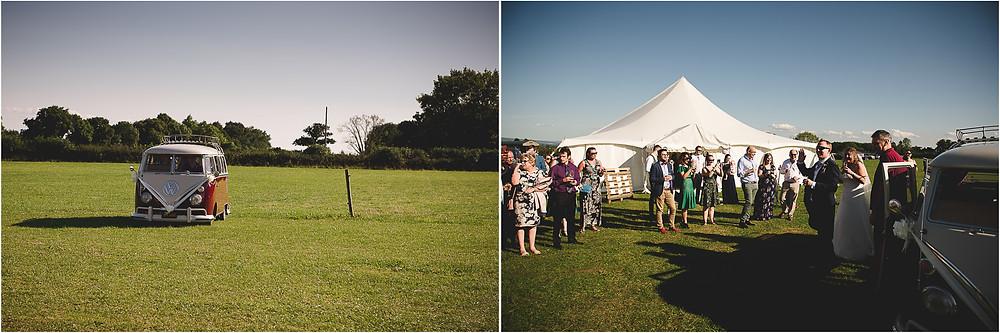 Wedding VW Campervan arriving in field near Malvern for festival wedding reception