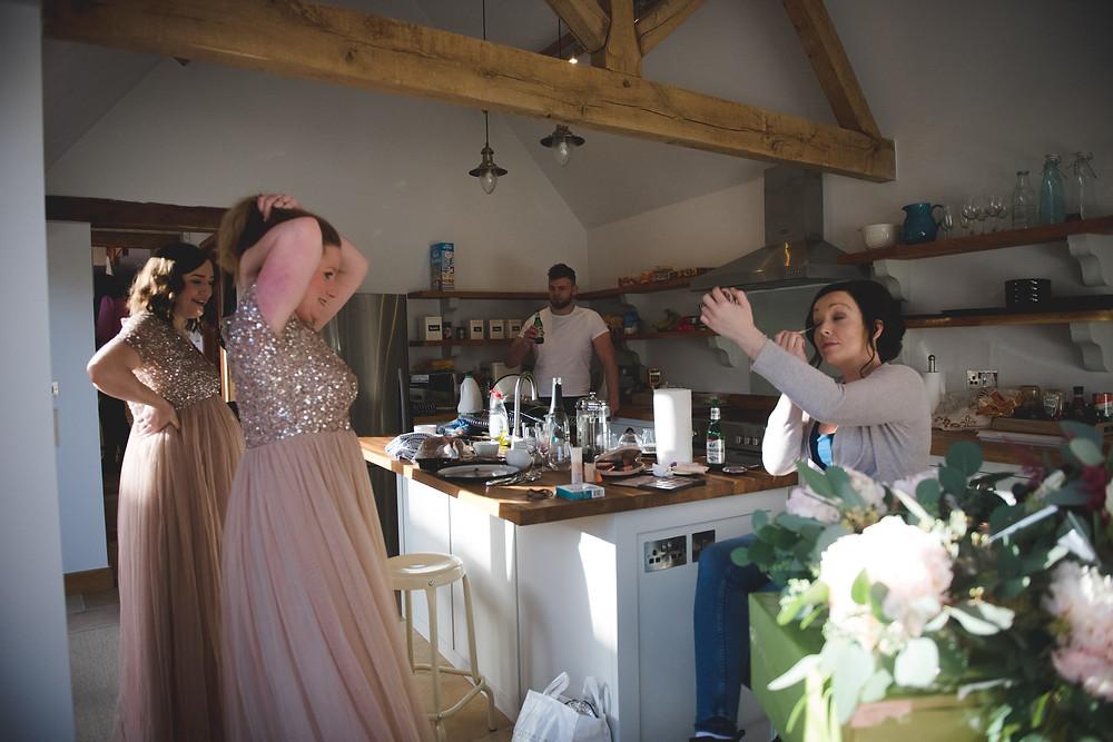 Bridesmaids getting ready before Cripps Barn wedding