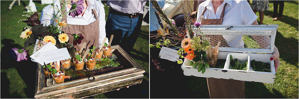 Unusual wedding canapes at reception in a field in Worcestershire
