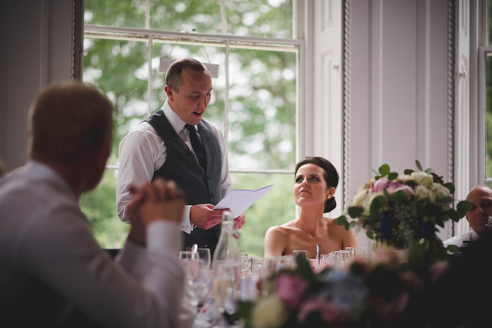 groom giving his speech at Somerford hall wedding