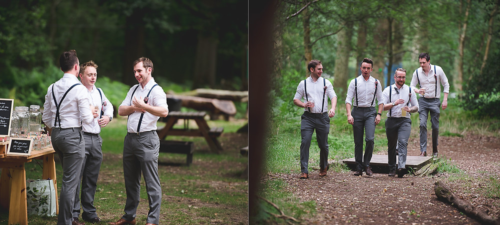 groomsmen in the woods at enchanting woodland wedding