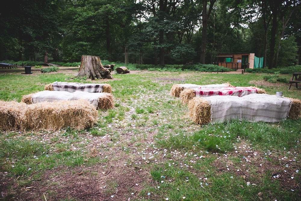 hay bales ready for wedding at Umberslade Adventure