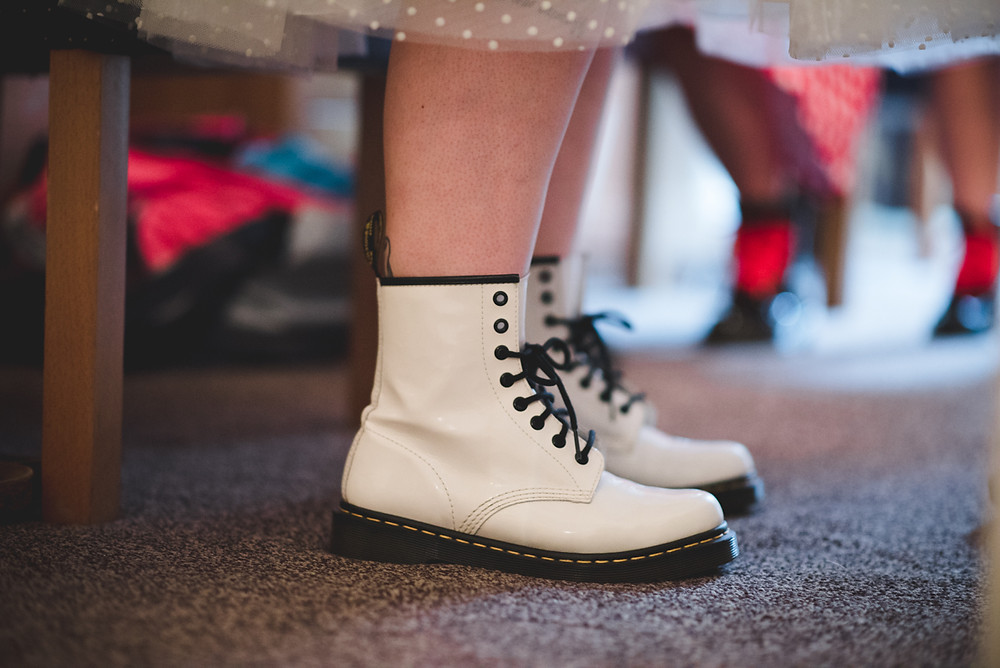 Bride in white patent leather Doc Martens