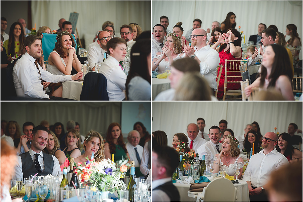 Smiling guests during Warwickshire marquee wedding reception
