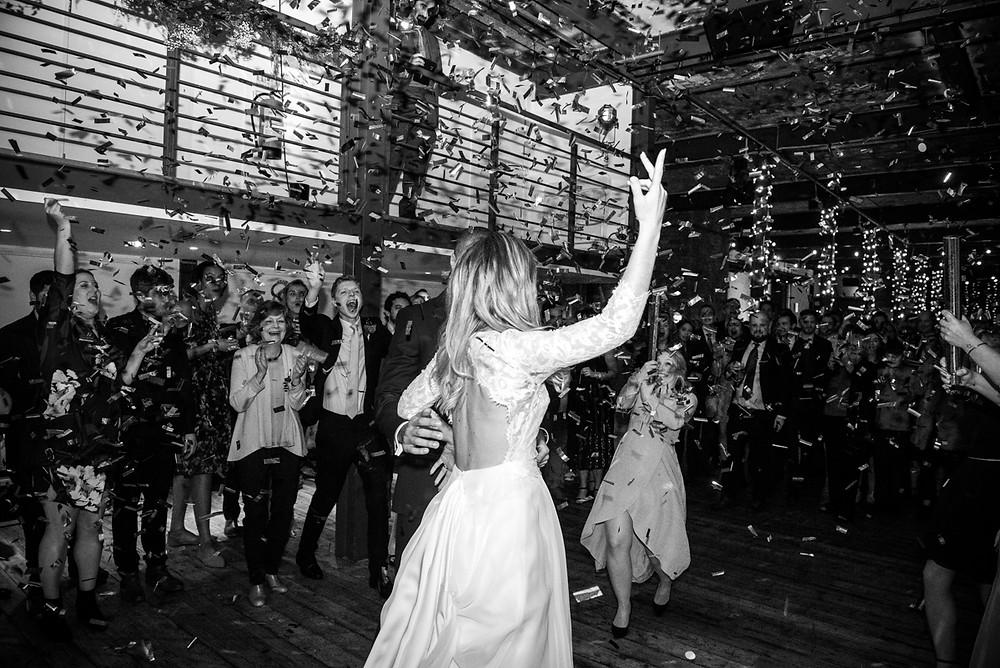 black & white first dance photograph at bristol paintworks wedding