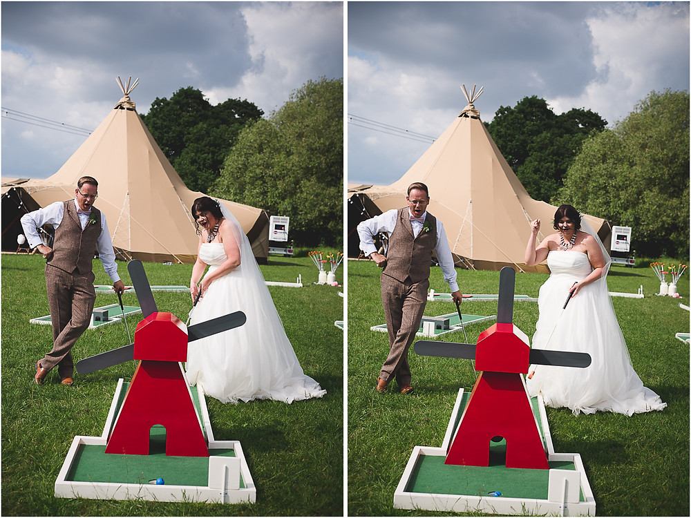 Bride & Groom playing mini golf during their drinks reception at Cuttlebrook Farm