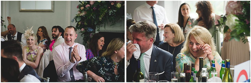 laughing during speeches at Somerford Hall