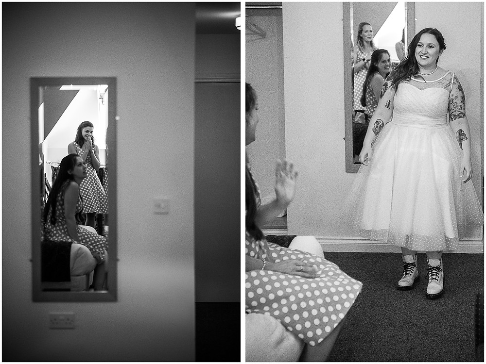 Bride in 50s style Brighton Belle dress