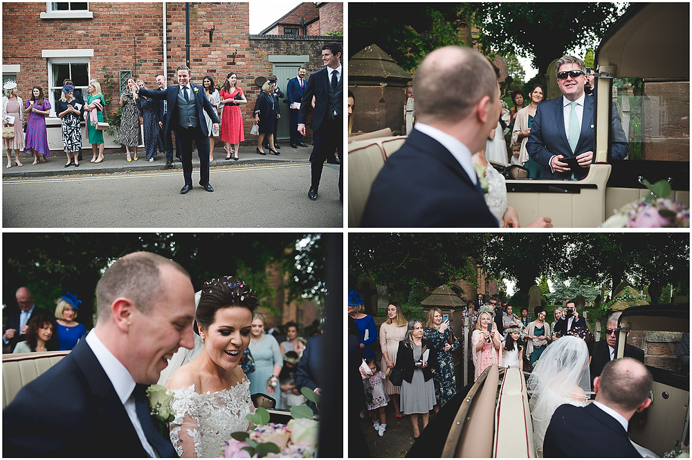 Guests after wedding at St Mark's church in Brewood