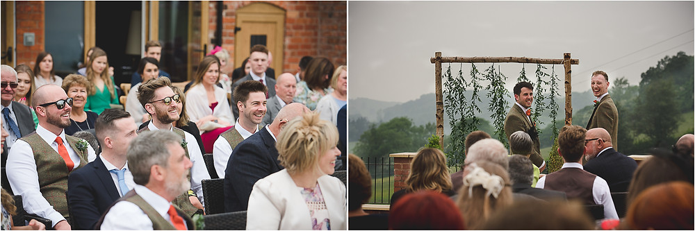 Outdoor wedding ceremony at Shropshire wedding venue