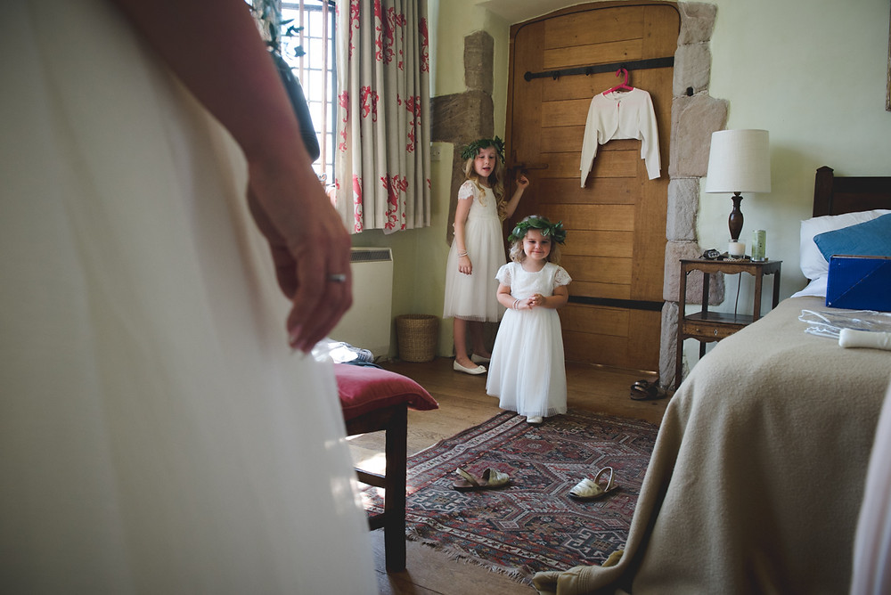 Flower girls with foliage crowns before Derbyshire wedding