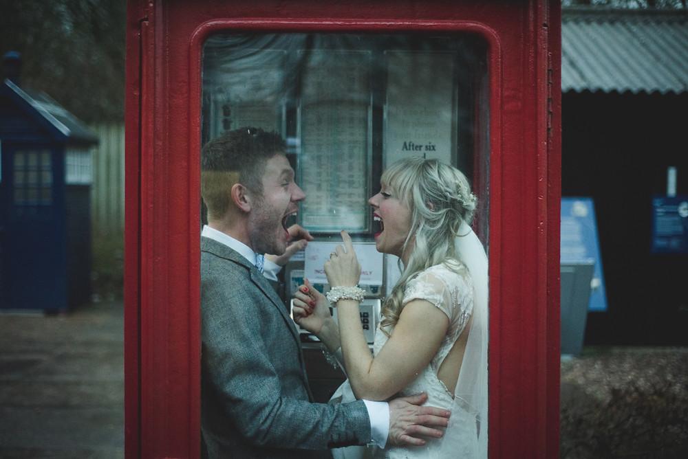 Bride & groom outside Electric Cinema in Birmingham having confetti thrown on them