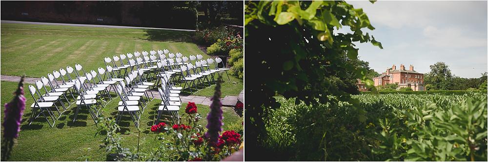 Delbury Hall wedding venue set up for an outdoor ceremony
