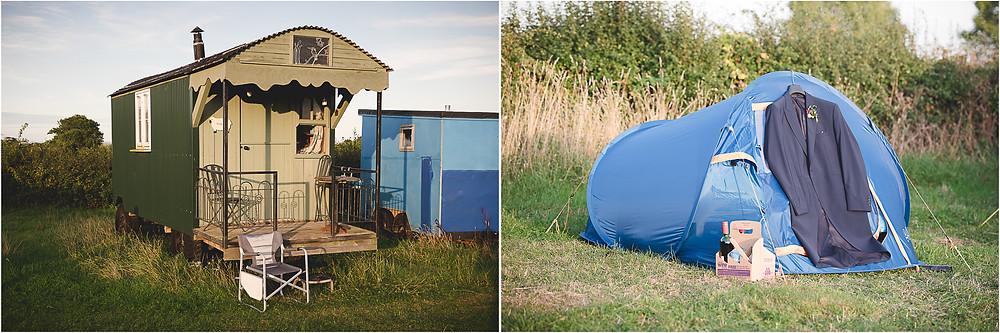 Shepherd hut and tent for festival wedding near Malvern