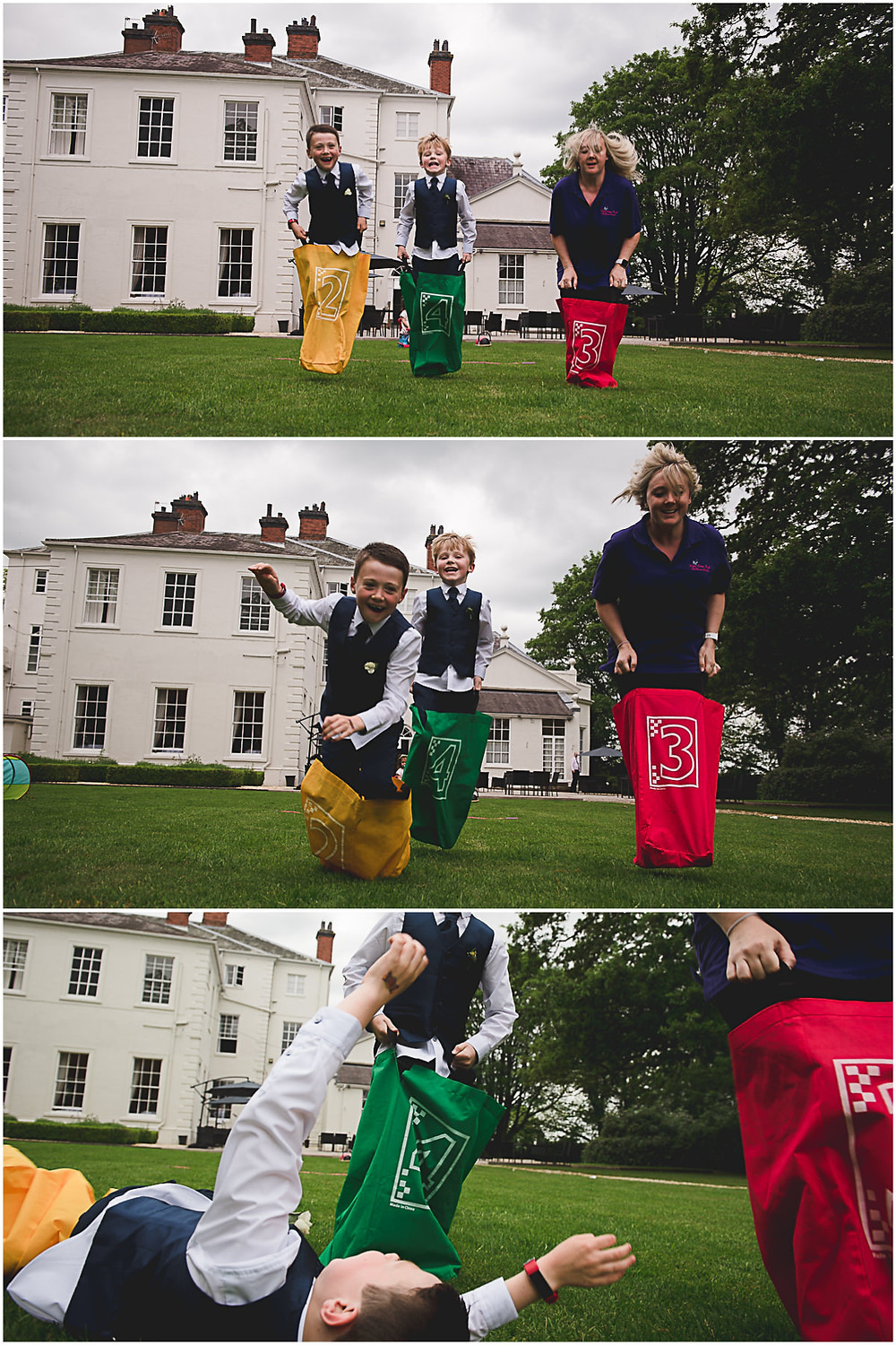 wedding reception sack race at Somerford Hall