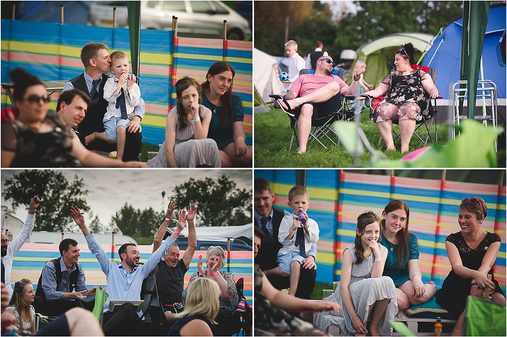 montage of wedding guests during outdoor speeches at festival wedding