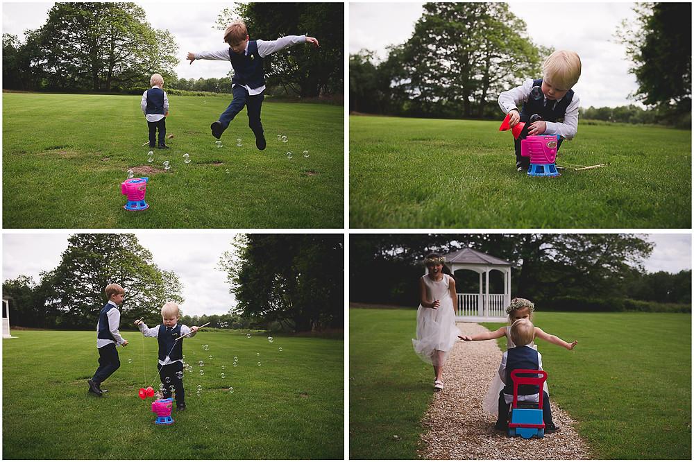 kids having fun outside at Staffordshire wedding