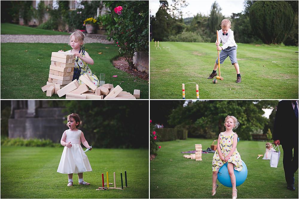 Children playing garden games at Worcestershire wedding reception