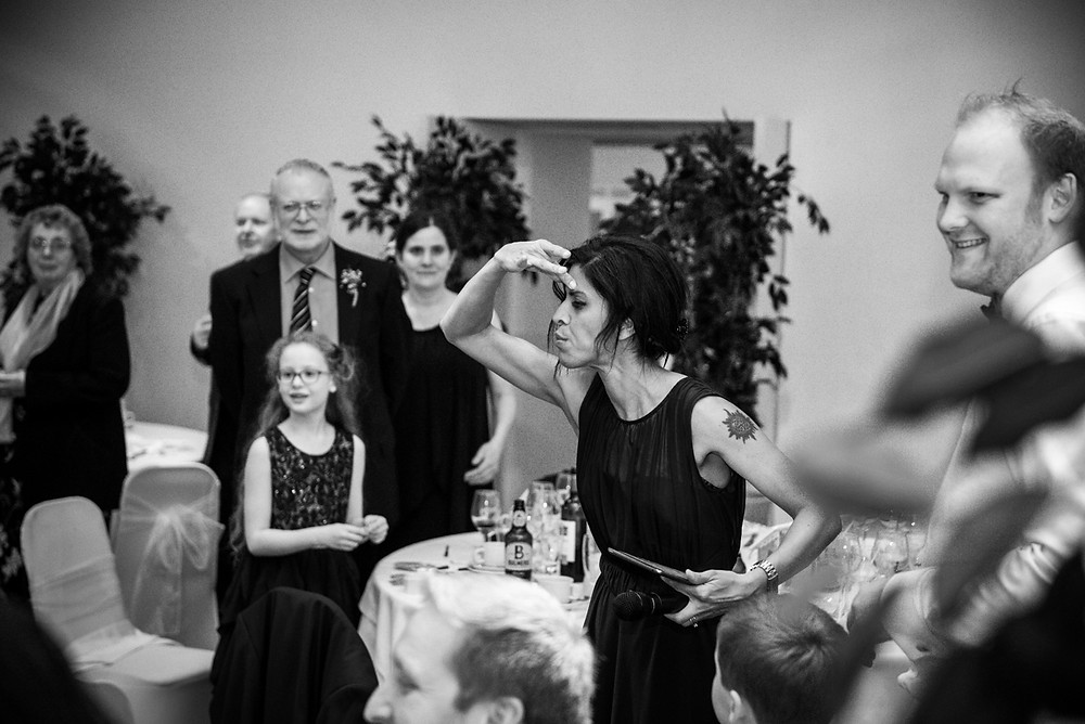 Guests playing Mr & Mrs at Fazeley Studios wedding reception