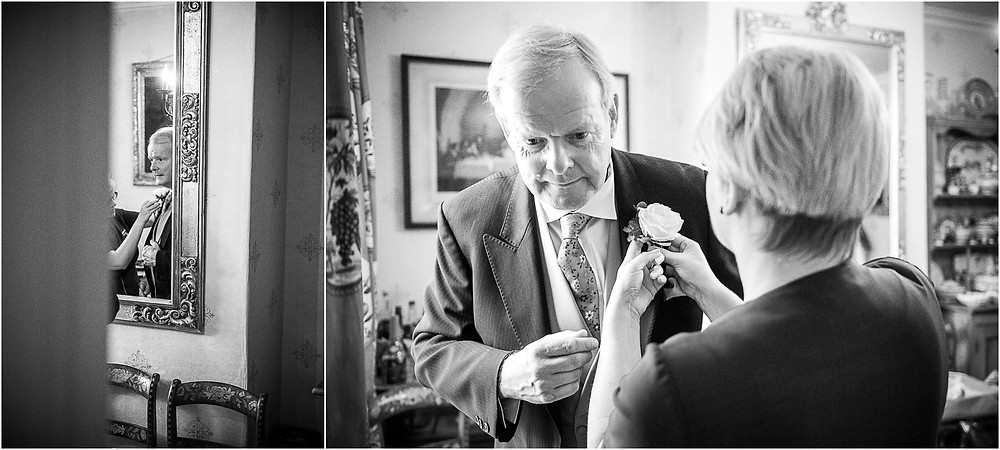 Worcester Cathedral wedding, Father of the Bride having his buttonhole put on