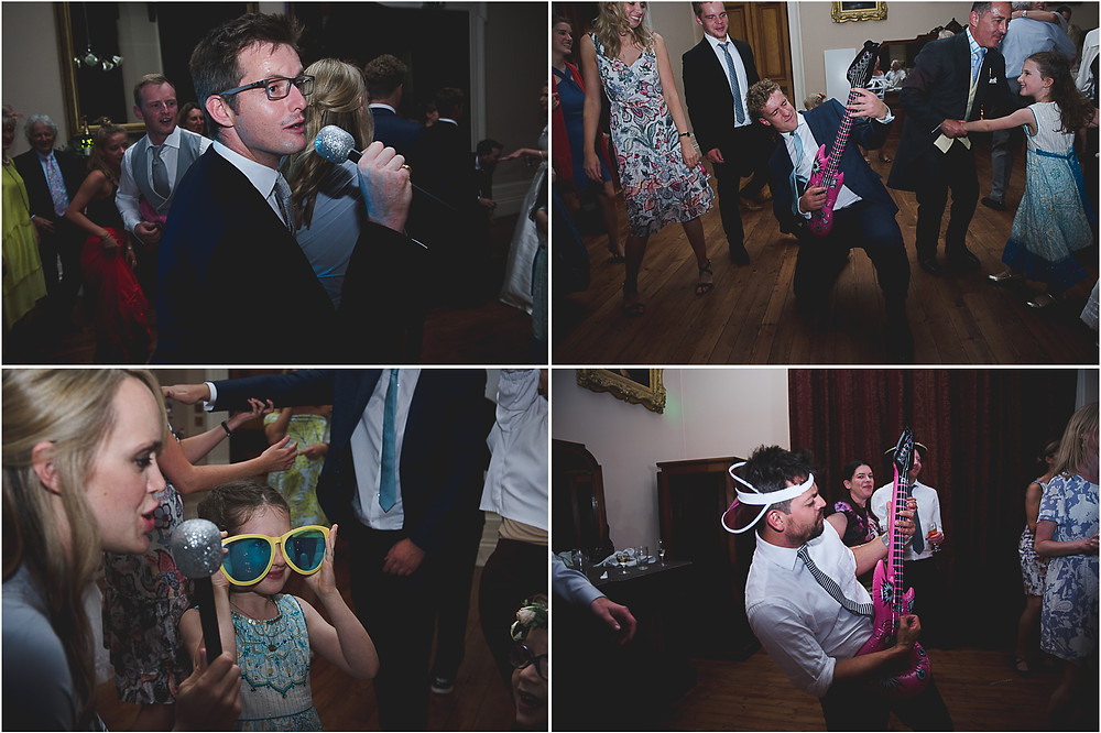 Guests having fun on the dance floor at Whitbourne Hall worcestershire wedding