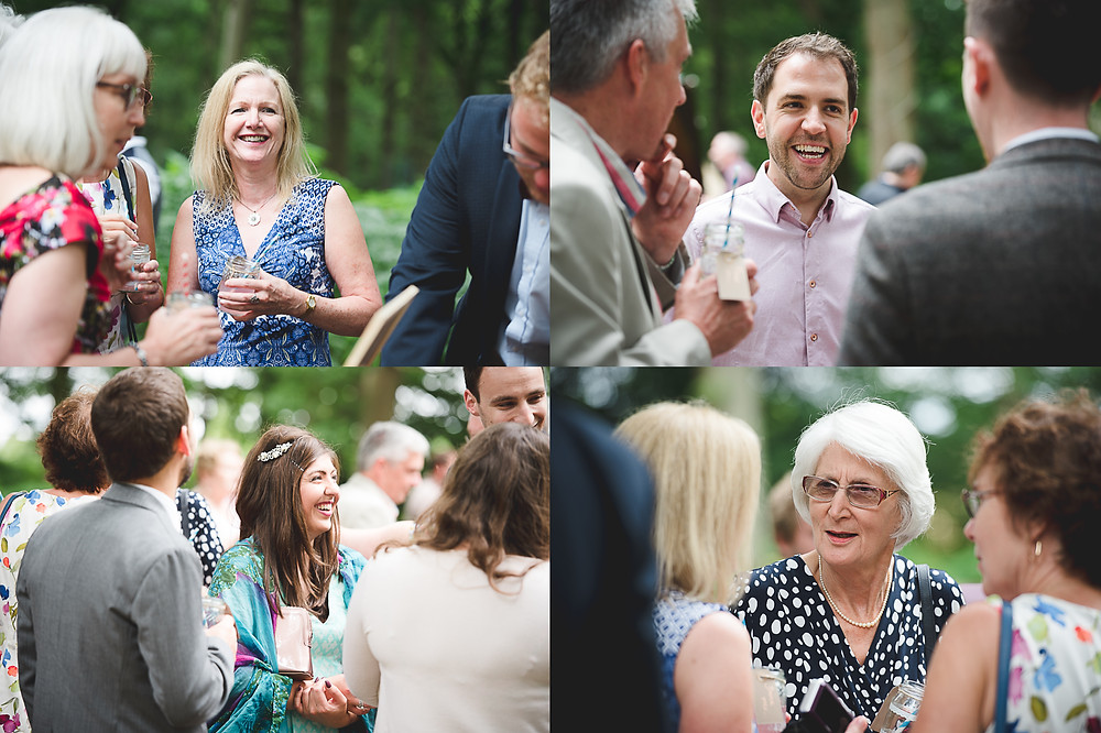 guests at woodland wedding